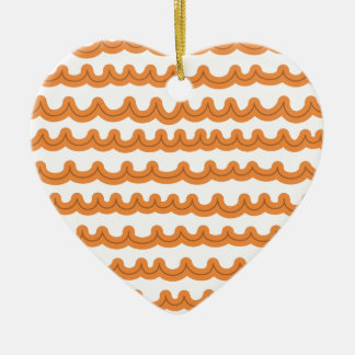Whimsical Ocean Waves Melon Ceramic Heart Decoration