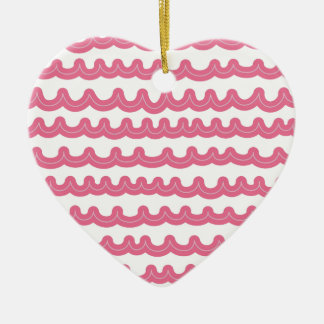 Whimsical Ocean Waves Pink Ceramic Heart Decoration