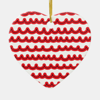 Whimsical Ocean Waves Red Ceramic Heart Decoration