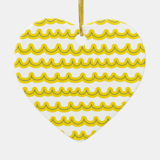 Whimsical Ocean Waves Yellow Ceramic Heart Decoration