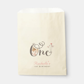 Whimsical One Photo 1st Birthday Party Favor Bag