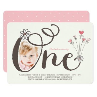 Whimsical One Pink Baby Girl 1st Birthday Photo Card