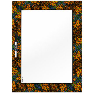 Whimsical Orange Floral  Pattern Dry Erase Board