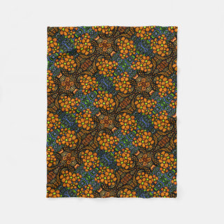 Whimsical Orange Floral Pattern Fleece Blanket