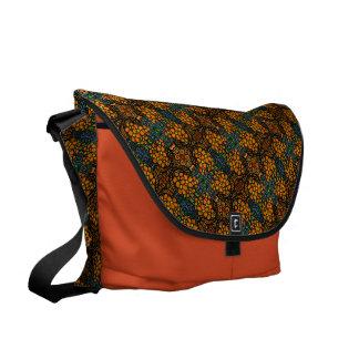 Whimsical Orange Floral Pattern Messenger Bag