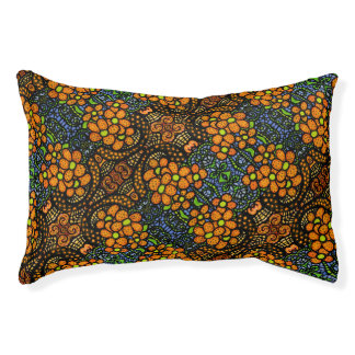 Whimsical Orange Floral Pattern Pet Bed