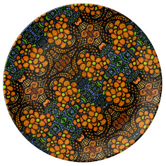 Whimsical  Orange Floral Pattern Plate