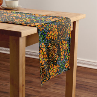 Whimsical Orange Floral Pattern Short Table Runner