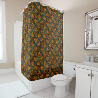 Whimsical Orange Floral Pattern Shower Curtain
