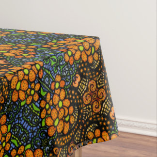Whimsical Orange Floral Pattern Tablecloth