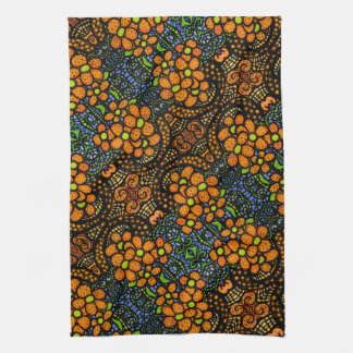 Whimsical Orange Floral Pattern Tea Towel