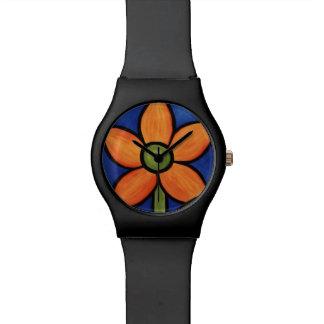 Whimsical Orange Flower Watch