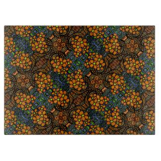 Whimsical  Orange Flowers Pattern Cutting Board