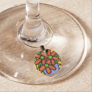 Whimsical Orange Flowers Wine Charm
