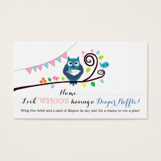 Whimsical Owl Baby Shower Diaper Raffle Ticket