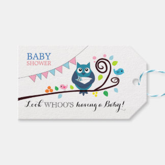 Whimsical Owl Baby Shower Gift Tags
