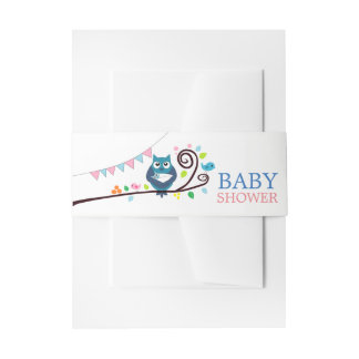 Whimsical Owl Baby Shower Invitation Belly Band