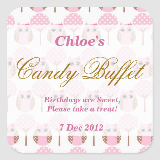 Whimsical Owl Birthday Candy Buffet Sticker