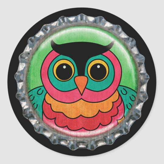 Whimsical Owl Bottle Cap Classic Round Sticker