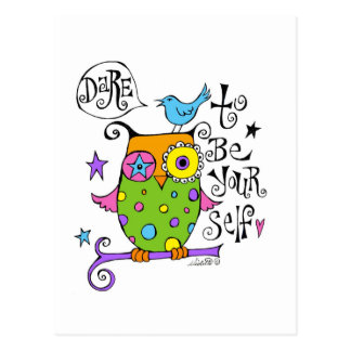 Whimsical Owl Illustration Post Cards