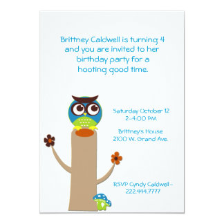 Whimsical Owl on a Tree Birthday Party Invitation