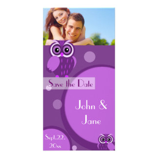 """Whimsical Owl  /photo  """"Save the Date"""" Photo Card"""