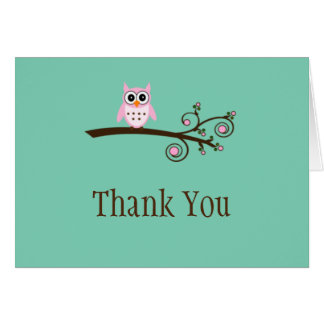 Whimsical Owl Thank you cards-Blank inside Note Card