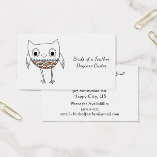 Whimsical Owl Woodland Creatures, Daycare Center Business Card