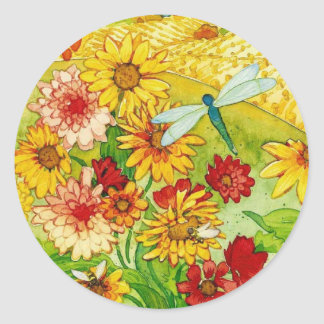 whimsical painting round sticker