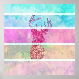Whimsical Paisley Deer Head Summer Pastel Stripes Poster