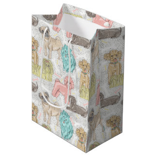 Whimsical Pastel Dog Pattern by WhimsicalArtwork™ Medium Gift Bag