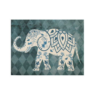 Whimsical Patterned Elephant Wood Poster