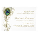 Whimsical Peacock Feather Reception Card 9 Cm X 13 Cm Invitation Card