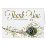 Whimsical Peacock Feather Thank You Card