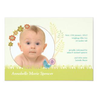 Whimsical Peacock Photo Birth Announcement Card
