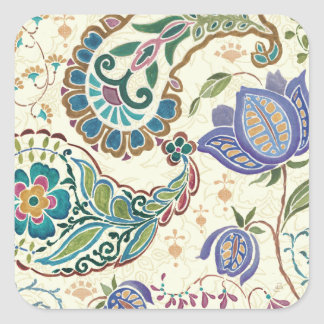 Whimsical Peacock Square Sticker