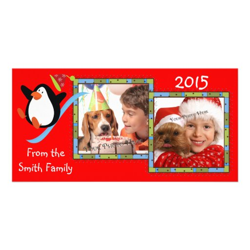 Whimsical Penguin 2 Photo Holiday Cards Custom Photo Card