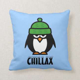Whimsical penguin cartoon throw pillow | chillax