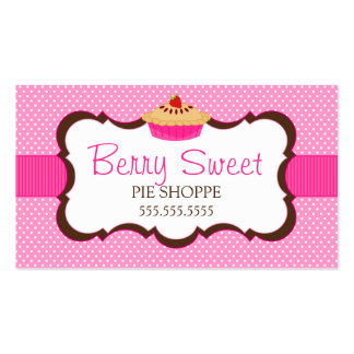 Whimsical Pie Bakery Pink Business Cards