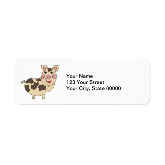 Whimsical Pig Personalised Return Address Label