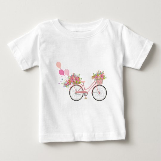 Whimsical Pink Bicycle Baby T-Shirt