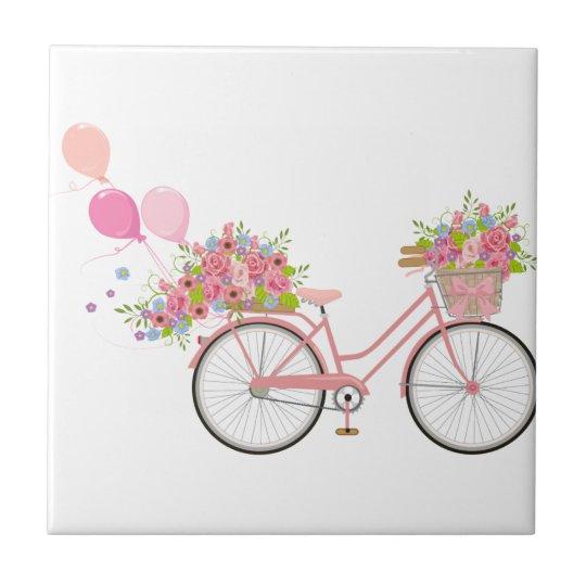 Whimsical Pink Bicycle Ceramic Tile