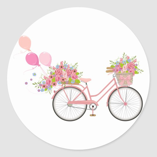 Whimsical Pink Bicycle Classic Round Sticker