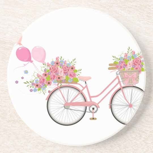 Whimsical Pink Bicycle Coaster