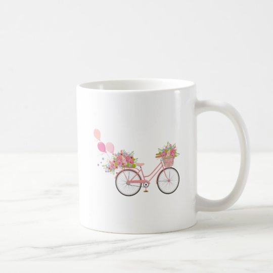 Whimsical Pink Bicycle Coffee Mug