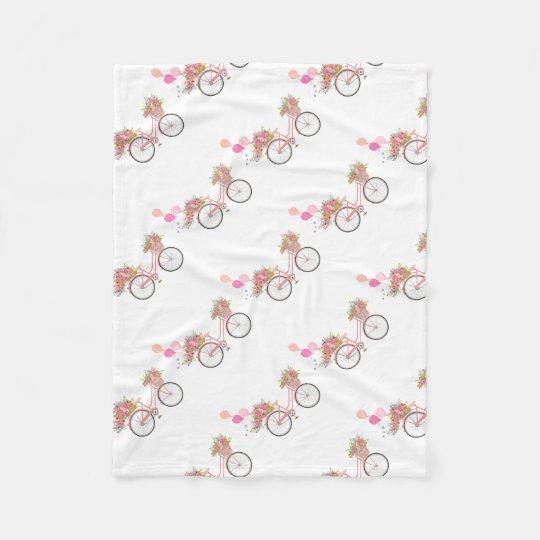 Whimsical Pink Bicycle Fleece Blanket