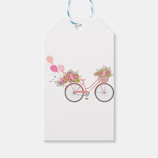Whimsical Pink Bicycle Gift Tags