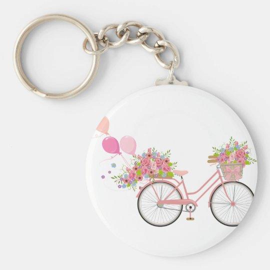 Whimsical Pink Bicycle Key Ring