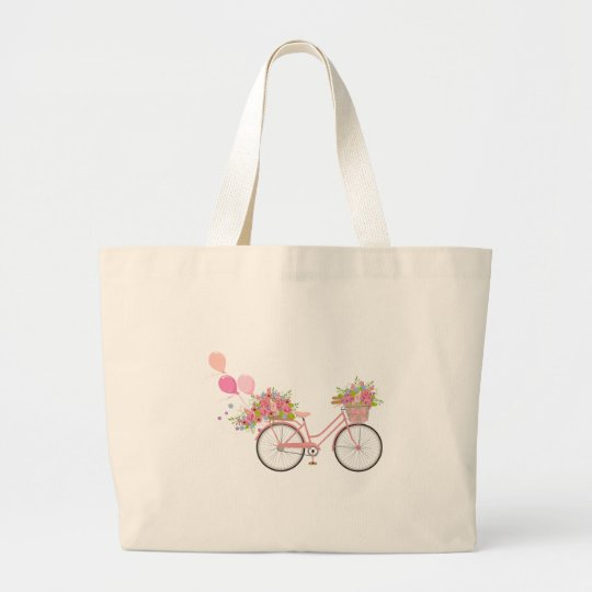 Whimsical Pink Bicycle Large Tote Bag