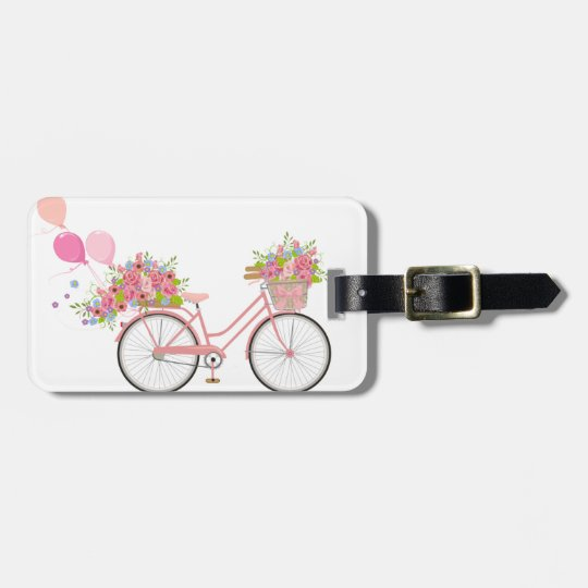 Whimsical Pink Bicycle Luggage Tag